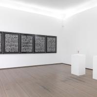 Steven Shearer — Poems VI, 2005 ; Five drawings, charcoal on rag paper ; 125 × 92 × 5 cm each, framed ; [ Inv. no. 1538, purchased 2006 ]