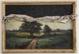 Titus Kaphar, Memory fails, 2011, Oil on canvas, tar and gilded frame, 111.8 x 162.6 cm. • Photo: Jon Lam Photography. Courtesy of Titus Kaphar and Private Collection, Richmond, Virginia.