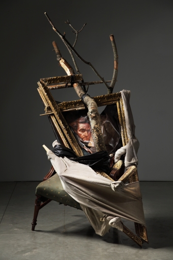 Titus Kaphar, Preservation of Family Fictions, 2010-2011, oil on canvas, tree limbs, chair, 198.1 x 142.2 x 119.4 cm. • Photo: Jon Lam Photography. Courtesy of Titus Kaphar, Friedman Benda Gallery and Burger Collection.